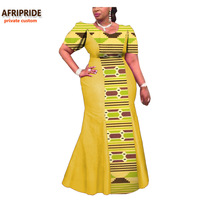 2017 African Dress For Women AFRIPRIDE Private Custom Short Sleeve Ankle Length Traditional Women Dress 100