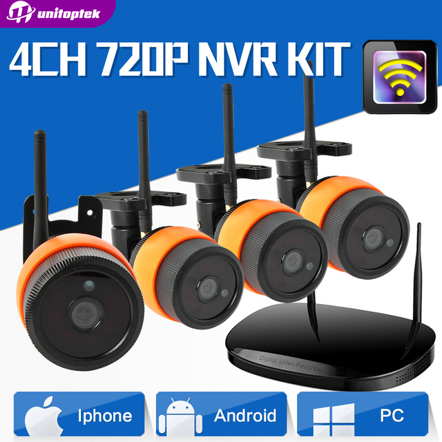 Security 2Ch/4Ch Wireless IP Camera CCTV System 720P WIFI IP Camera NVR Kit Outdoor Waterproof Night Vision Surveillance System
