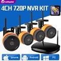 Segurança 2Ch/4Ch CCTV Sistema de Câmera IP Sem Fio 720 P Kit NVR Câmera IP WI-FI Ao Ar Livre À Prova D' Água Visão Noturna Sistema de vigilância