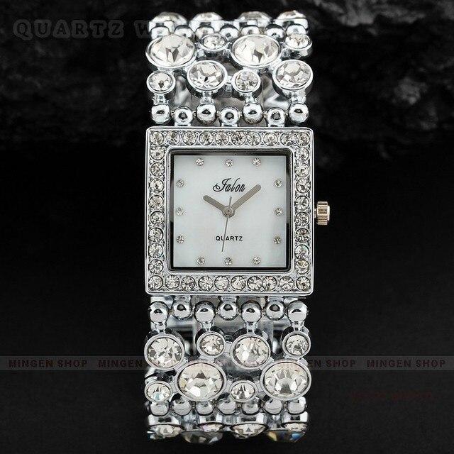 Роскошные мода золотой и серебряный квадрат шику горный хрусталь кристалл свободного покроя леди женщины ну вечеринку ужин браслет платье часы