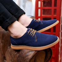 2018 High Quality Fashion Men Casual Suede Leather Shoes Men Flats Lace Up Male Bullock Men Leather Shoes Big Size 38 47