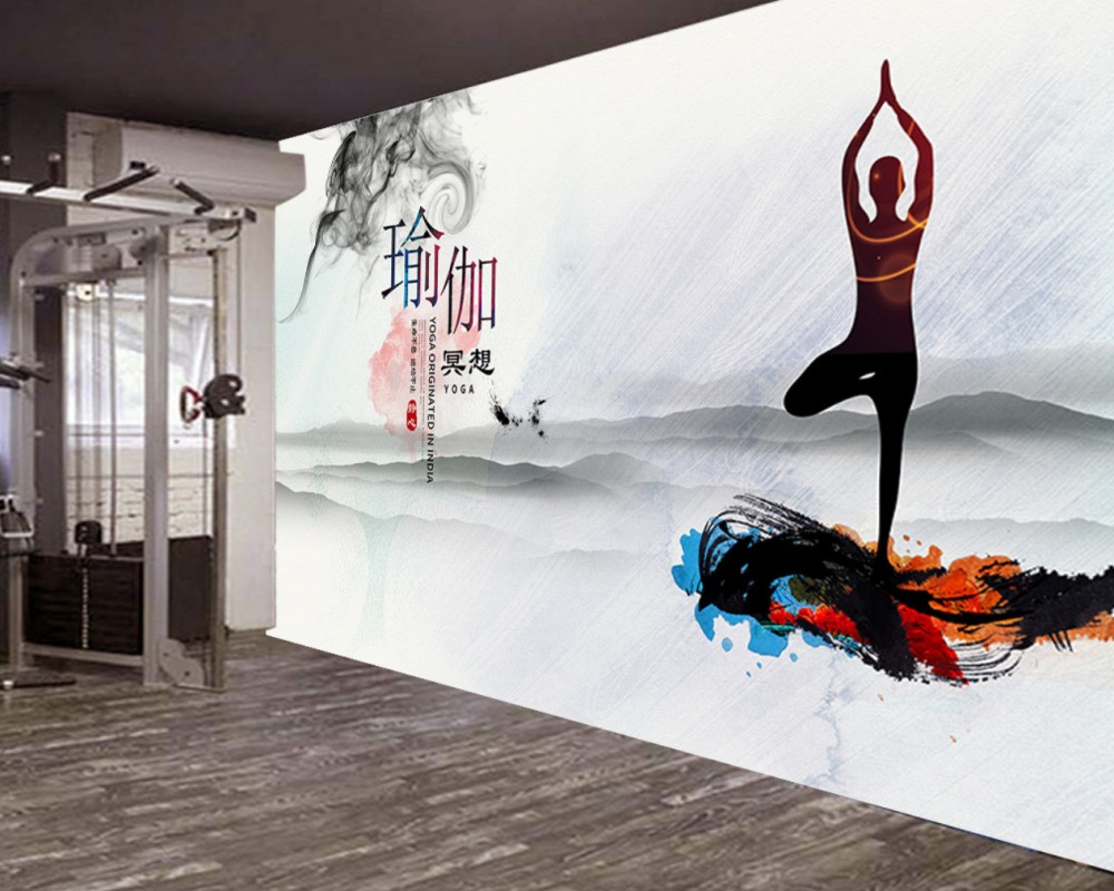 studio background gym elegant yoga wall ink 3d mural smoke beauty shipping custom