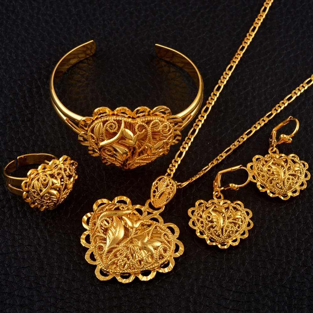 Сердце Ювелирные наборы Африканский Эфиопский Золотой Цвет свадебное ожерелье для невесты Серьги Браслет Кольцо Дубай Арабские Ювелирные изделия #118506