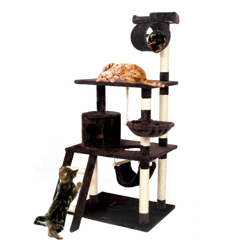 Domestic Delivery Cat Climbing Tree Scratching Wood Frame Cat Playing Training Product Kitten House Hammock Cat For Fun 3 Colors