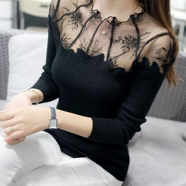 New High Quality 2018 Women Low O -Neck Transparent Lace Basic Knit Shirt Slim Long -Sleeve Pullover Sweater Female Tops