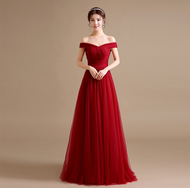 Modest Burgundy Prom Dresses 2017 Tulle Off the Shoulder Long Maroon ...