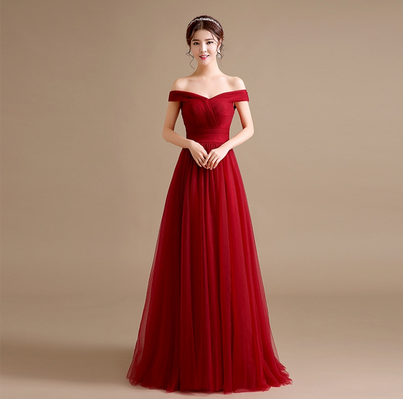 4d27fb8dba56 Modest Burgundy Prom Dresses 2019 Tulle Off the Shoulder Long Maroon Prom  Dress Cheap Evening Gowns Women Formal Party Gown