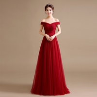 Modest Burgundy Prom Dresses 2017 Tulle Off The Shoulder Long Maroon Prom  Dress Cheap Evening Gowns bad70a273b58