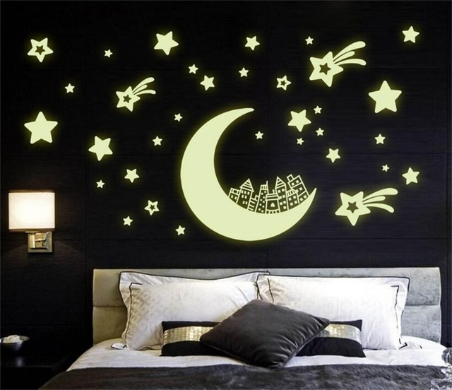 1Set DIY 4 Types Fluorescent Luminous Corridor Ceiling Glow In The Dark Star Decal For Kids Rooms