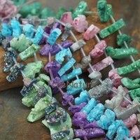 Fashion Nature Titanium Druzy Agates Geode Quartzs Loose Bead Strand Rectangle Shape Raw Crystal Bead Jewelry In 12*26 mm PM6649