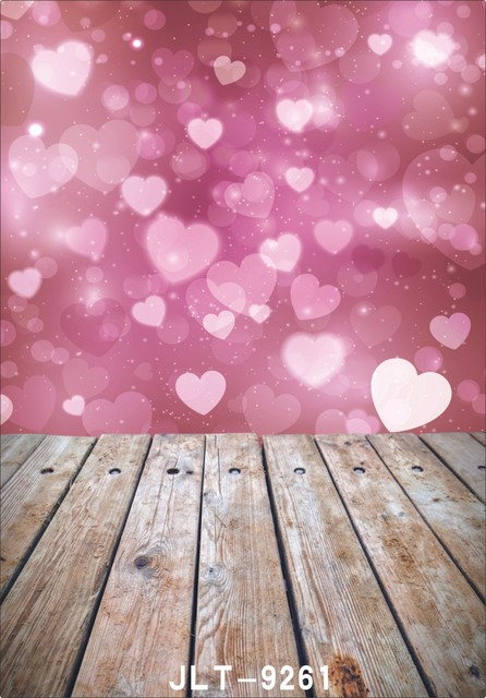 Pink Sweet Heart Valentines Backgrounds For Photo Studio Wooden