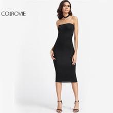 COLROVIE Black Strapless Bodycon Midi Summer Dress