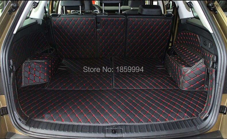 for 2017 Skoda Kodiaq  rear tail car trunk mat durable boot carpets for honda jazz trunk tray mat tpo waterproof anti slip car trunk carpet luggage cover black