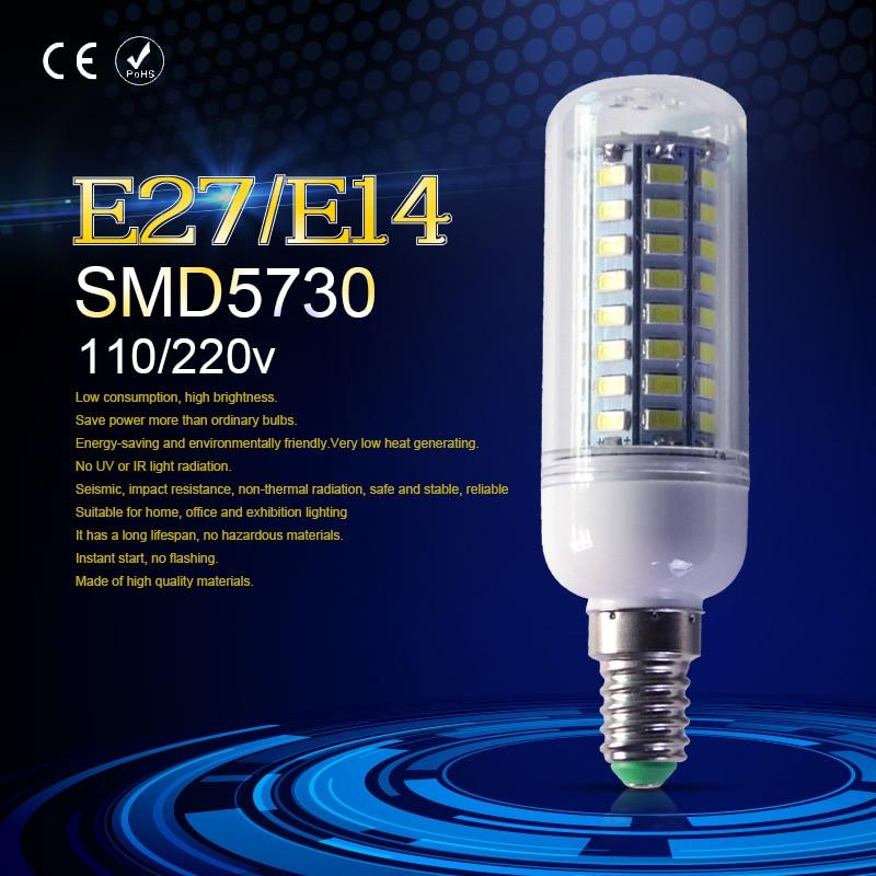SMD5730 E14 LED Lamp 24 36 48 56 69 72leds E27 220V Corn Bulb Chandelier For Home Lighting LED Bulb 240V LED Spotlight Bulb 230V