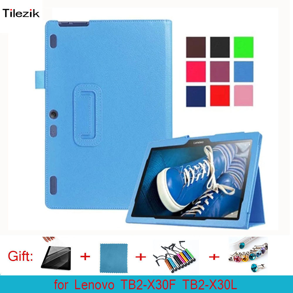 PU Magnetic Folio Folding Stand Leather Case Cover For Lenovo Tab 2 A10-30 TB2-X30F TB2-X30L 10.1