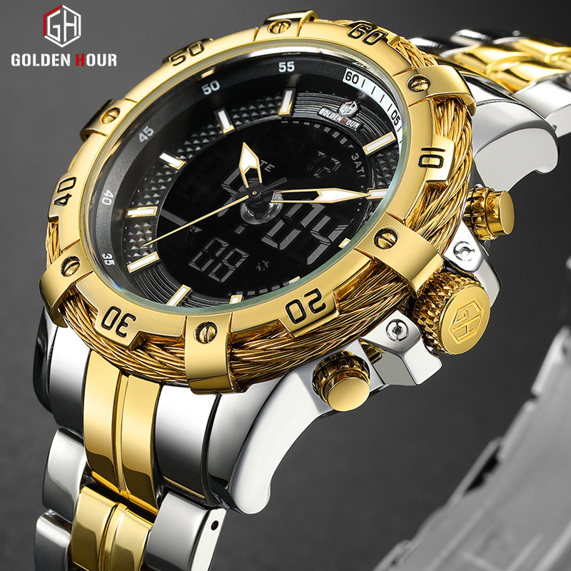 GOLDENHOUR Mens Digital Analog Watch Luxury Fashion Sport Waterproof Two Tone Stainless Male Watch Clock Relogio Masculino