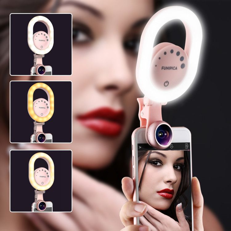 LED Selfie Ring Light with Wide Angle+Macro Phone Camera Lens Youtube Beauty Live Stream Enhancing Ring Lamp for iPhone X Xiaomi