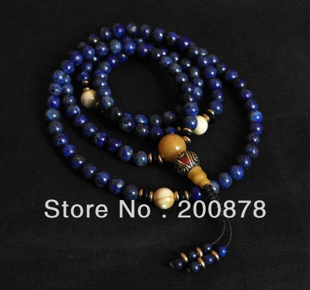 BRO603 collier de perles bleu marine Lapis Lazuli méditation Mala 6mm bleu marine pour filles livraison gratuite
