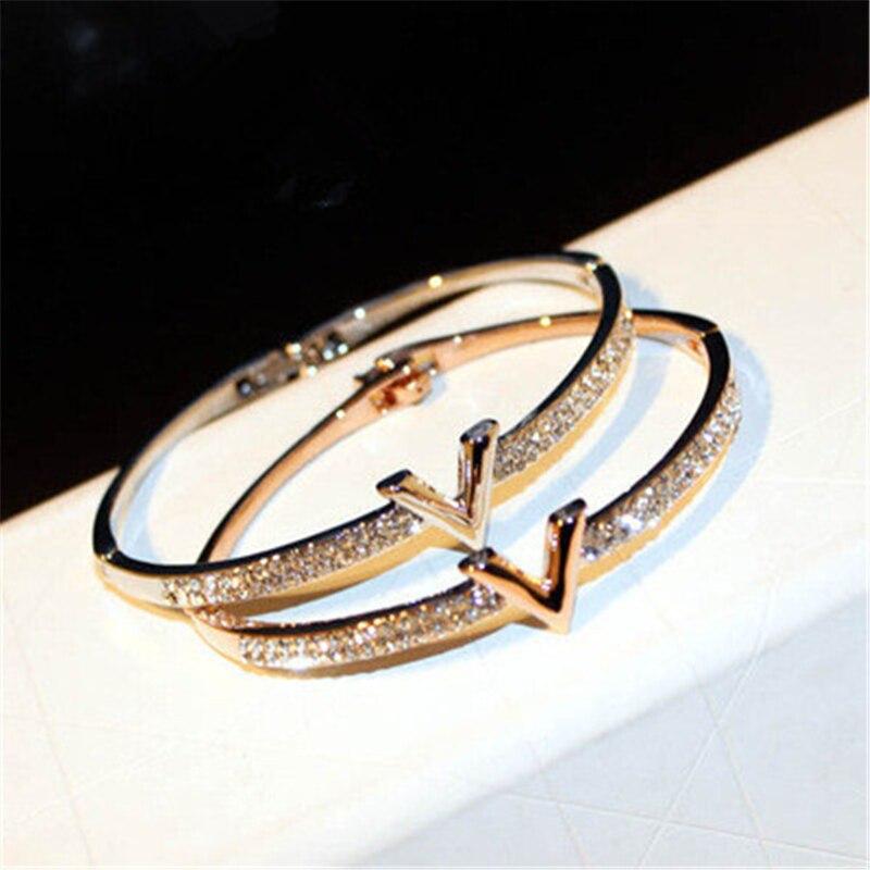 Luxury Letter V Crystal Bangles For Women 3 Colors Pulseira Feminina Fashion Design Rhinestone Arm Cuff Bracelet Jewelry Gift trendy letter heart round rhinestone bracelet for women