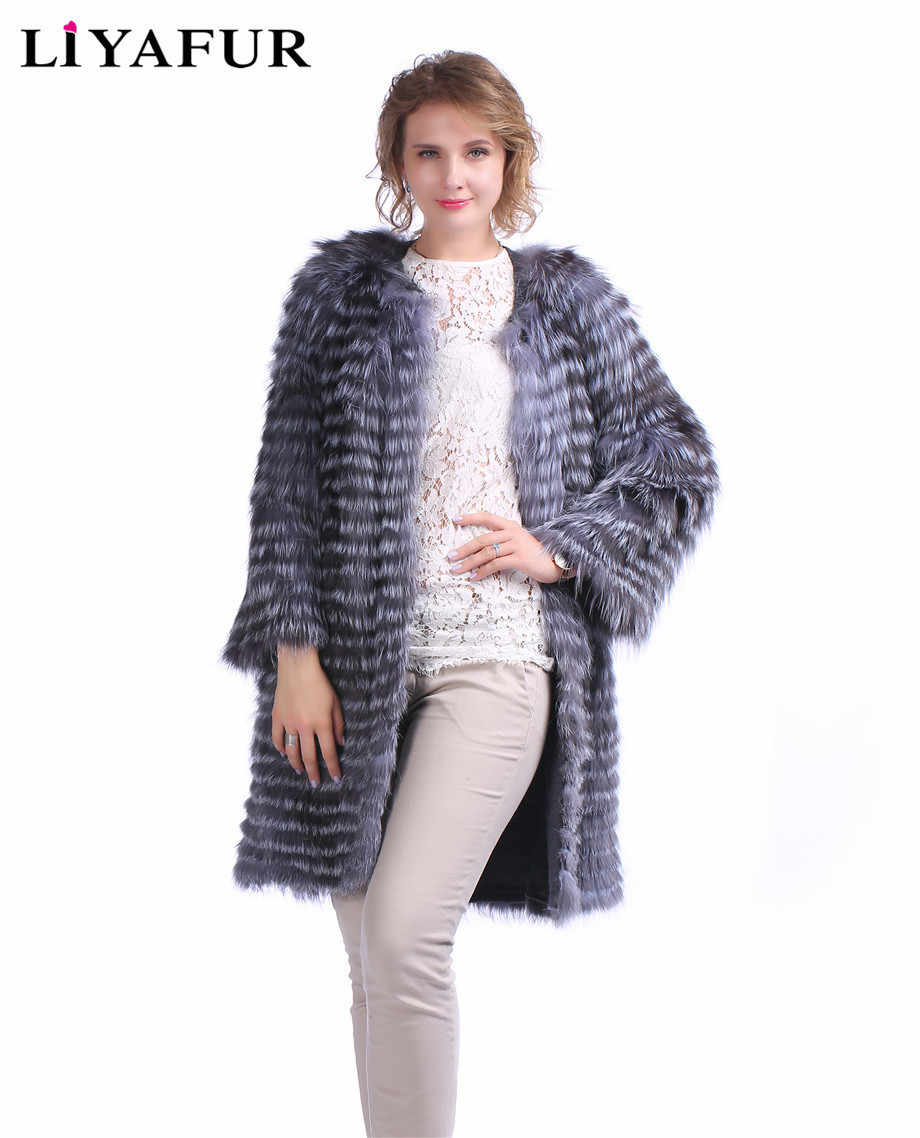 LIYAFUR New Style Real Genuine Silver Fox Fur Coat Outerwear Jacket Cardigan Lining Winter Autumn Striped Style Overcoat