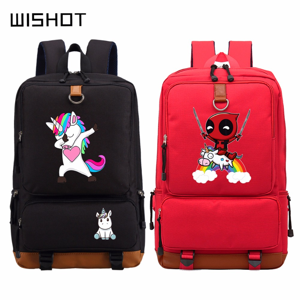 Wishot Unicorn Dab Deadpool Riding A Unicorn Backpack Schoolbag Casual Teenagers Men Women's School Travel Shoulder Laptop Bags