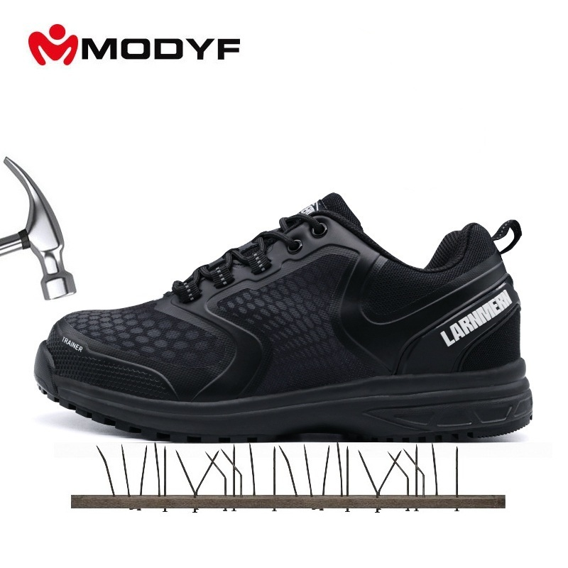 MODYF Men Black Lightweight Steel Toe Cap Work Safety Shoes Anti puncture Breathable Construction Safety Boots
