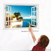 Diy وهمية خلفية نافذة ملصقا يمكن إزالتها دافئ حديقة النباتات والزهور autocollants muraux ملصقات الحائط ل غرف الاطفال