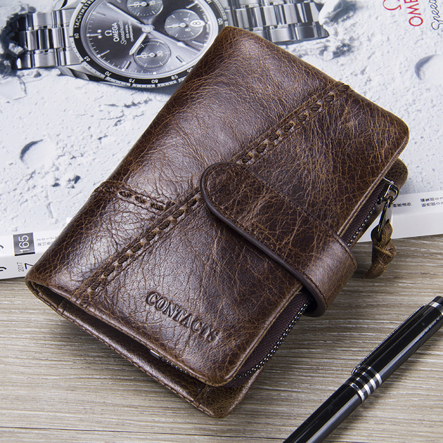CONTACT'S Casual Men's Genuine Leather Short Wallet Hasp Design Key Holders Clutch Purse With Zipper Pouch Wallet Gift For Men 5