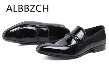 Patent Leather Dress Men Shoes Men's Slip On Wedding Shoes Black Quality Cow Leather Pointed Toe Trending Business Casual Shoes
