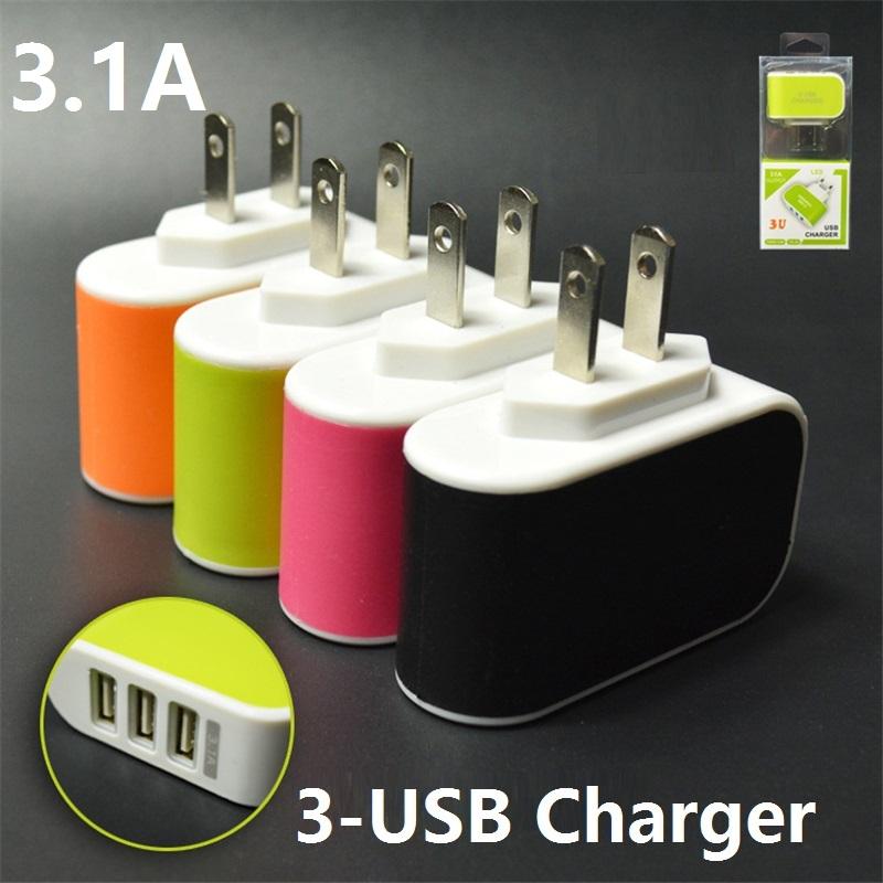 3.1a Triple Usb 3-port Wall Home Travel Ac Charger Adapter For Samsung S4/5/6 For Iphone 5s 6s For Ipad Mp3/mp4 Us/eu Plug