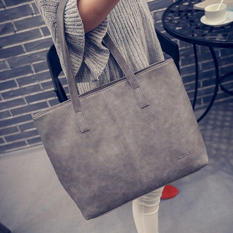 Mujeres del cuero matorral negro gris causal Tote bag gran capacidad de compras del bolso de hombro mano de lujo Bolsas mujeres Bolsas diseñador