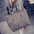Mulheres Bolsa de Couro Matagal Preto Cinza Causal Tote Bag bolsa de Ombro Grande Capacidade saco de Compras Bolsas De Luxo Mulheres Sacos De Designer