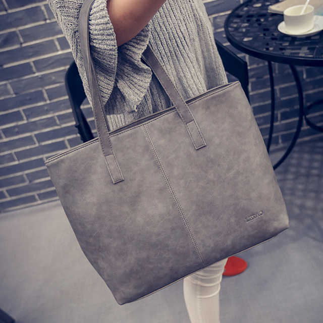 Women Scrub Leather Handbag Black Grey Causal Tote Bag Large Capacity  Shoulder bag Shopping Luxury Handbags 48761be322d92