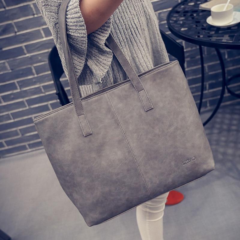 Women Scrub Leather Handbag Black Grey Causal Tote Bag Large Capacity <font><b>Shoulder</b></font> bag Shopping Luxury Handbags Women Bags Designer