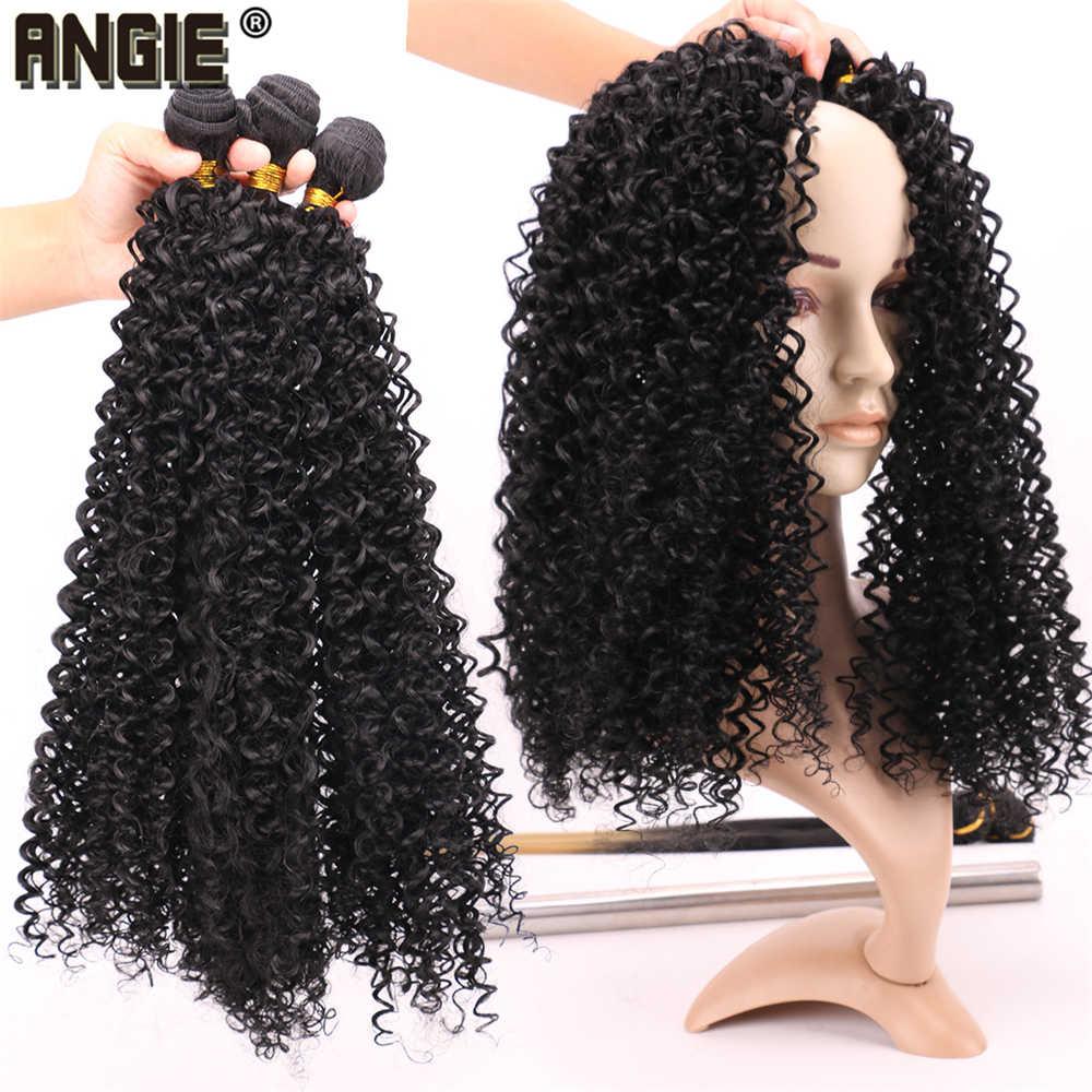 Черный цвет высокая температура Синтетические волосы для наращивания афро кудрявый пучки вьющихся волос 16-30 дюймов длинное плетение