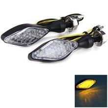 Motorcycle Arrow Shaped Stalk Turn Signal Indicator Light Bulb – Yellow Light with 2pcs 12V 12 LEDs Energy Saving Long Lifespan