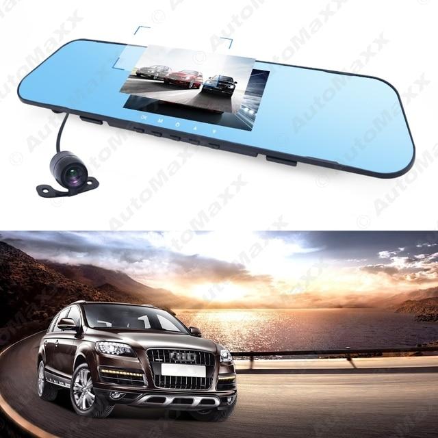 "4.3"" Rearview Mirror 1080p Car DVR Dual Lens Parking Video Recorder Registrator Dash Camera Full HD Night Vision #J-1716"