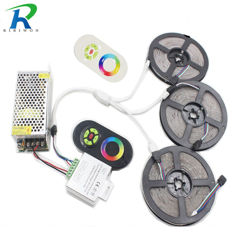 RiRi won 5050 SMD RGB LED Strips Light 60Leds/m Leds Tape ribbon diode waterproof 20M 15M 10M 5M controller DC 12V power supply 20m smd 5050 rgb led strip light 60leds m led flexible tape rope lights 18a wireless touch remote controller dc 12v power supply