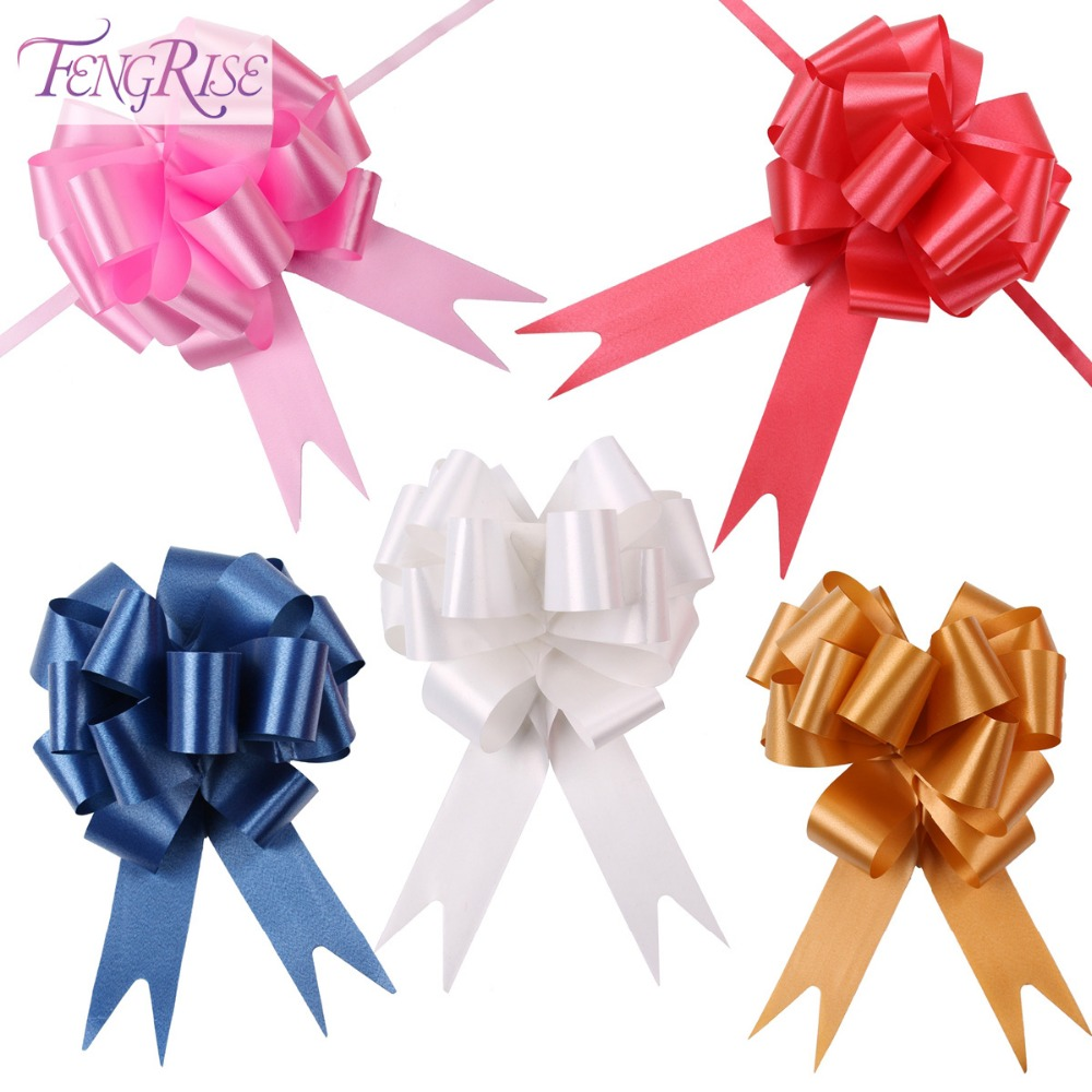 FENGRISE 30pcs 30mmx120cm Pull Bows Large Ribbon Wedding Decoration Car DIY Gift Packaging Ribbons Party Valentines Day Crafts