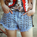 European style Personality Rivet Denim Shorts Women Sexy Street Style Female Skinny Jeans A-149