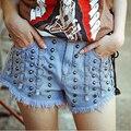 Personalidade estilo europeu Rivet Denim Shorts Mulheres Sexy Street Style Feminino Jeans Skinny A-149