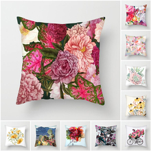 Fuwatacchi Floral Cushion Covers Pink Rose Cactus Pillow Covers for Home Sofa Chair Decorations Chrysanthemum Plush Pillowcases цены