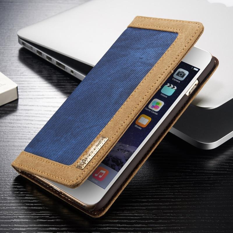 imágenes para Original CaseMe Voltear denim Caso Para el iphone 6 6 S Soporte de la Carpeta caso para el iphone 6 plus 6 s plus denim funda con pata de cabra