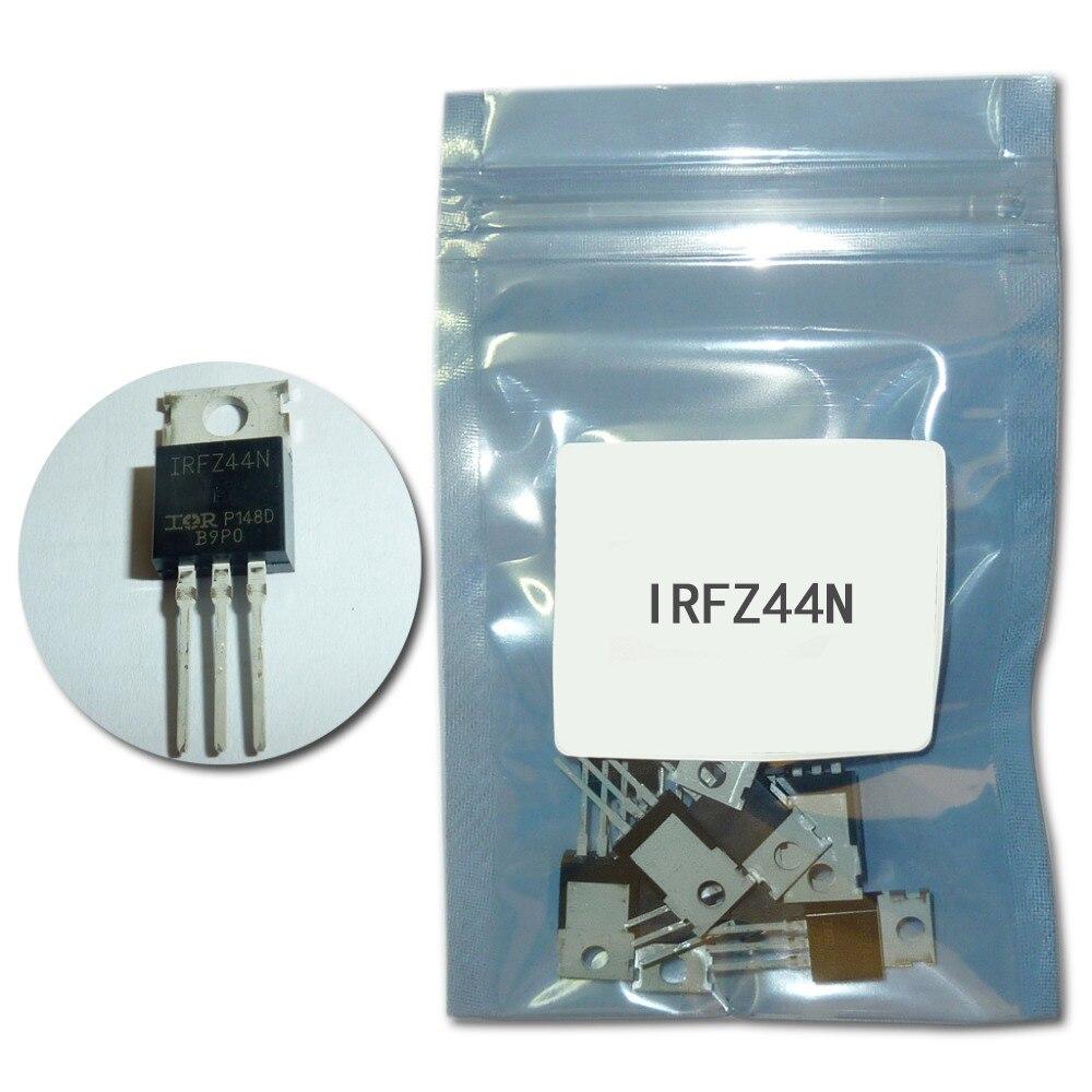 10 Unids/set Mosfet IRFZ44N TO220 Kit De Transistores IRFZ44 A-220 De Alta Potencia Transistores IRFZ44NPBF 49A 55V Transistor De Efecto Campo