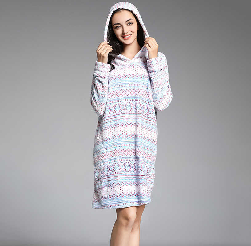 c48e341fdb Winter nightgown flannel warm thick home night gowns with hat dressing gown  for women