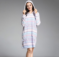 Winter nightgown flannel warm thick home night gowns with hat dressing gown for women