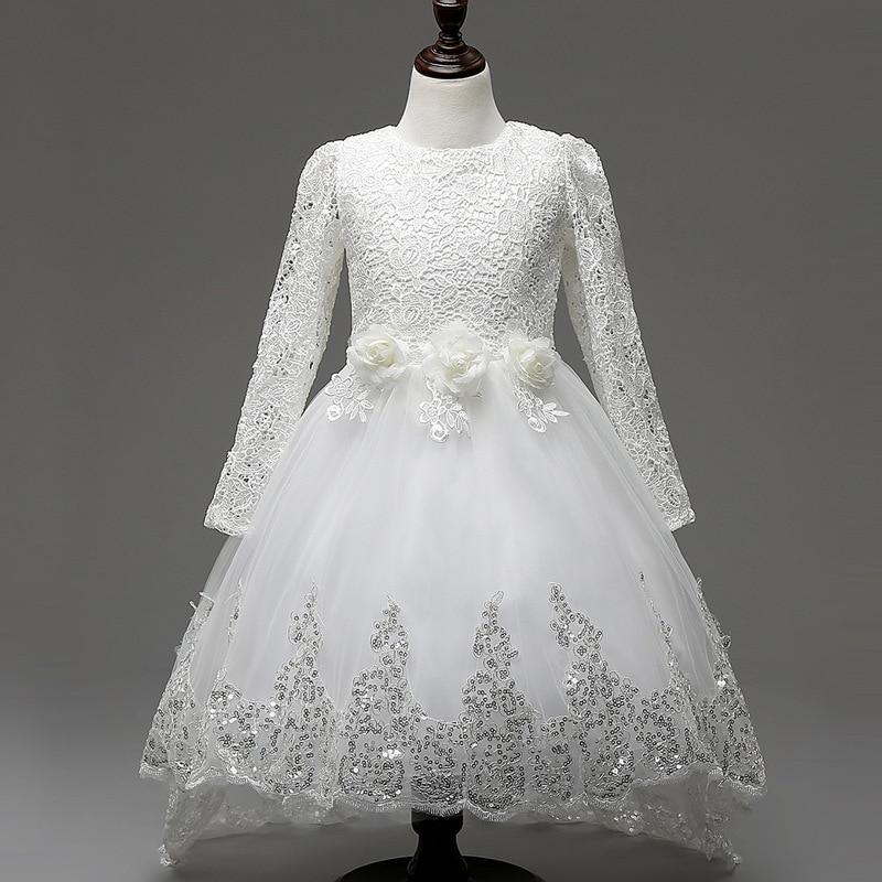 Elegant lace tutu dresses for girls 2016 spring long sleeve frocks children princess kids party wear girl dress for 4-12 years