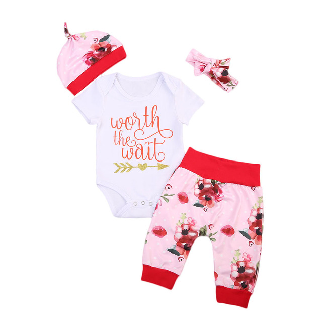 a88a3bea5 3 Pcs Worth The Wait Letter Toddler Infant Baby Girls Floral Bodysuit Onesie+Flower  Leggings Pants Hat Outfits Clothing Set