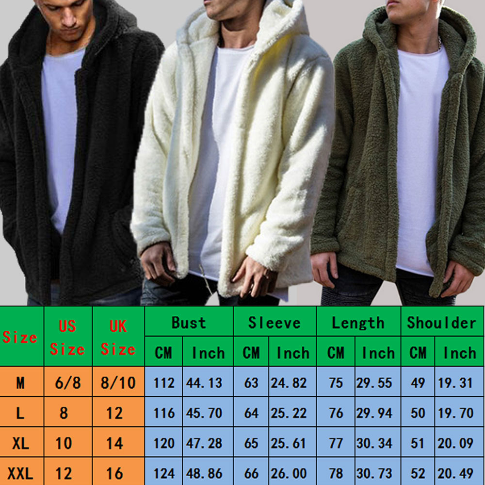 Men Winter Warm Teddy Bear Long Sleeve Fleece Jackets Oversize Outwear Coats With Pockets