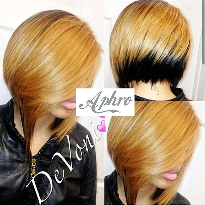 Hot Side Bang Full Lace Blonde Short Synthetic Bob Wigs 10 inch 150 Density Black/Brown Front wig short black women - Aphro Beauty Hair Shop No.1 store